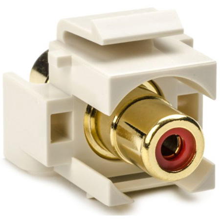 HellermannTyton RCA Female To Female Keystone Module with Red Stripe -White