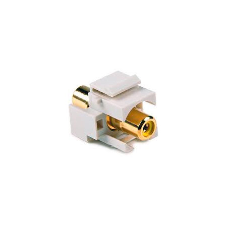 HellermannTyton RCA Coupler Keystone Module with Green Stripe - White