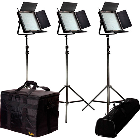 ikan IFB1024-KIT Kit with 3 X IFB1024 Lights w/AB and Sony V-Mount Battery Plates
