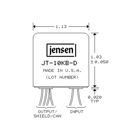 Jensen JT-10KB-D Line Input Transformer 4:1 Stepdown For BalancedBridging Inputs