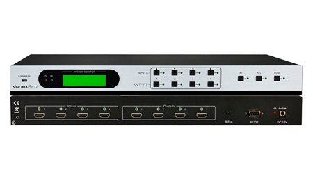 KanexPro HDMX44RS HDMI 4x4 Matrix Switcher with Built-in EDID Management
