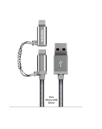 Kanex K8PMU4FPSV Charge and Sync Cable with MiColor Duo Micro USB & Lightning USB Cable 4FT (Silver)