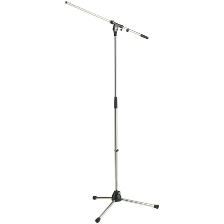 K&M 210/2 Microphone Stand and Boom Arm Combination - Chrome