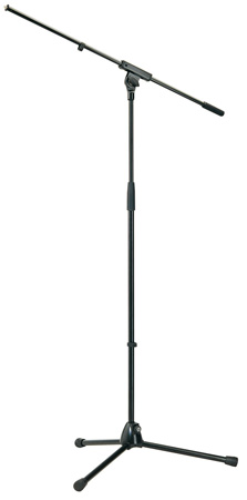 K&M 210/6 Microphone Tripod Stand - Black 38in - 66in w/ 1pc 31-1/2in Boom Arm BLACK