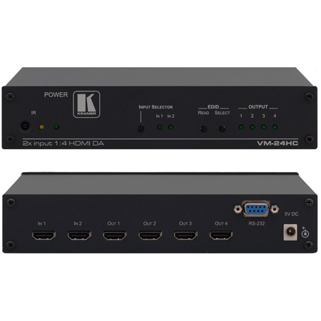 Kramer VM-24HC - 2x1:4 HDMI Switcher & Distribution Amplifier