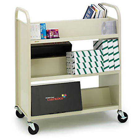 Slant 3-Shelf Booktruck 31W x 13D x 42H RAVEN