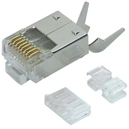 L-Com TDS8PC6 Category 6 Rated RJ45 Connectors Crimp Plug (8X8) - Shielded - 50 Pack