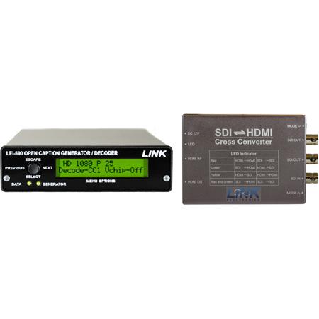 Link LEI-590 HCC-62 SD/HD-SDI Open Caption Generator and Closed Caption Decoder w/ HDMI Cross Converter to 3GA/HD/SD-SDI