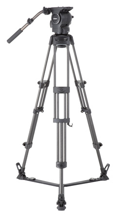 Libec RSP-750 Aluminum Tripod System with Floor-level Spreader for ENG Setups
