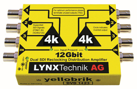 LYNX Technik Yellobrik DVD 1423 Dual 12G SDI 1 In/3 Out Video Distribution Amplifier - Supports Multi SMPTE SDI Signals