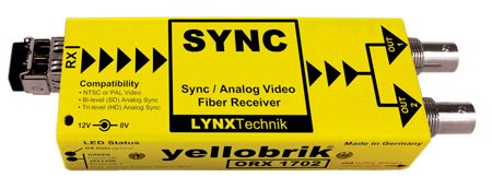 Lynx Yellobrik ORX 1712 Analog Video/Sync SM 1310nm Fiber Receiver ST Connector