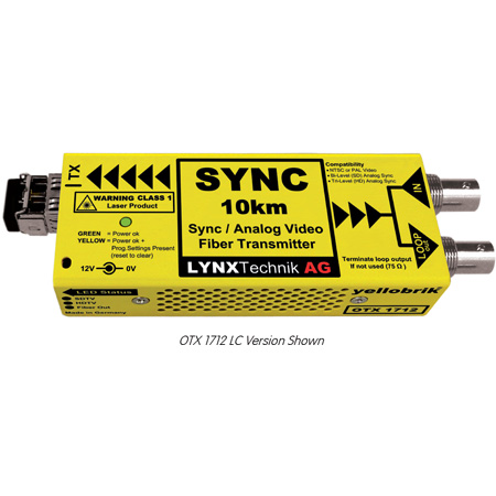 Lynx Yellobrik OTX 1712 Analog Video/Sync 10km SM 1310nm Fiber Tx LC Connector
