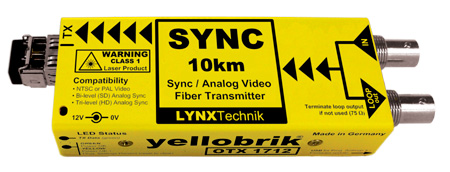 Lynx Yellobrik OTX 1712 Analog Video/Sync 10km SM 1310nm Fiber Tx ST Connector