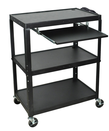 Luxor AVJ42XLKB Steel Adjustable Height Extra Large AV Cart with Keyboard Shelf