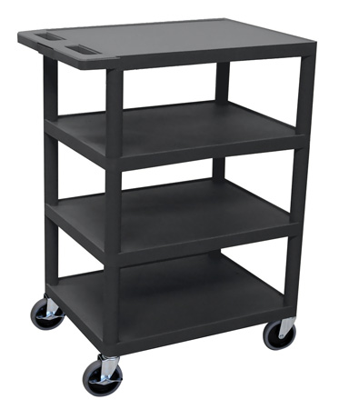 Luxor BC45-B Four Flat Shelf Structural Foam Plastic Cart - Black