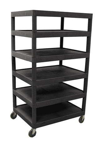 Luxor BC60-B Six Flat Shelf Structural Foam Plastic Cart - Black