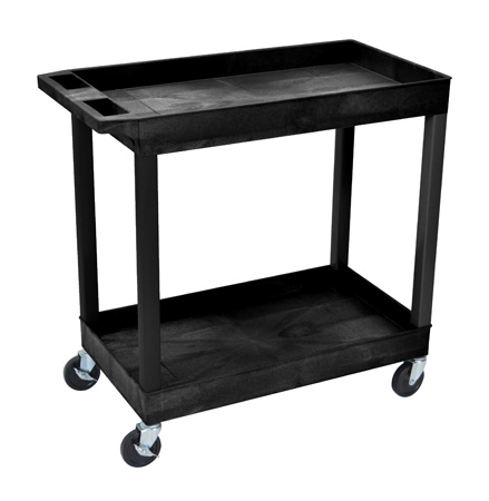 Luxor EC11-B E-Series 2 Shelf Black Utility Cart