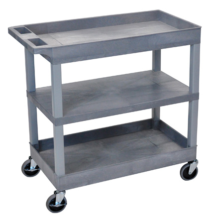 Luxor EC121-G Three Shelf Utility Cart