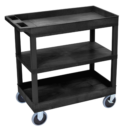 Luxor EC121HD-B Three Shelf Utility Cart