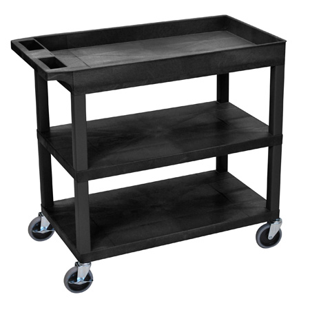 Luxor EC122-B Three Shelf Utility Cart