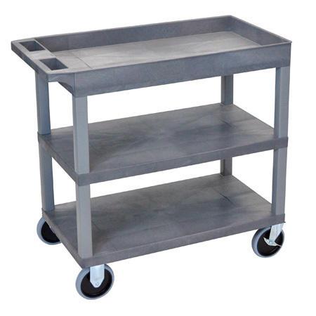 Luxor EC122HD-G Three Shelf Utility Cart