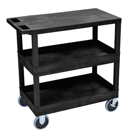 Luxor EC211HD-B Three Shelf Utility Cart