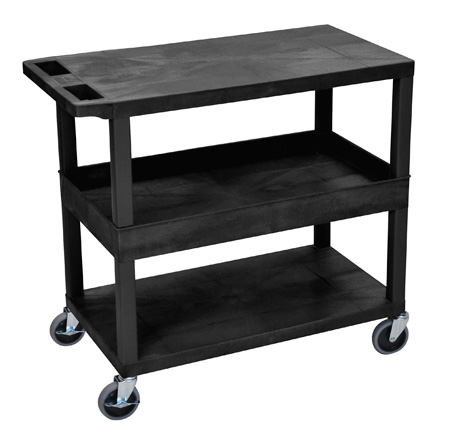 Luxor EC212-B Three Shelf Utility Cart