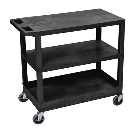 Luxor EC221-B Three Shelf Utility Cart