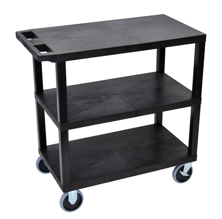 Luxor EC222HD-B Three Shelf Utility Cart