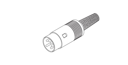 Din Connector 8 Pin Plug-270 Type Male Cable End - Gray