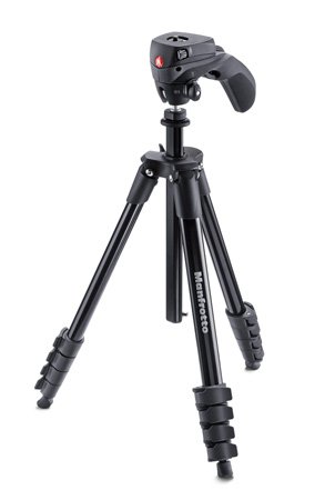 Manfrotto MKCOMPACTACN-BK Compact Action Aluminum Tripod  - Black