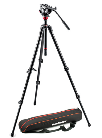 Manfrotto MVH500AH-755XBK Lightweight Fluid Video System / Aluminum Legs / MDeVe