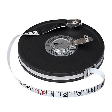 Keson 50ft Fiberglass Tape Measure w/Metric Units on Reverse Side