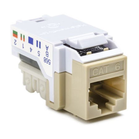 Cat 6 110 Punchdown Keystone Module-Off Whte