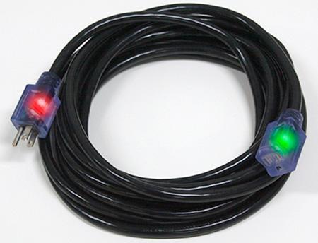 Milspec D17448025 ProGlo Cordset 12/3 AC Extension Cord w/CGM Black - 25 Foot