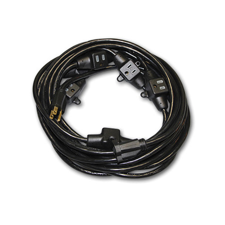 Milspec D19006339 Multi-Outlet 14/3 AC Distribution Extension Cord Black 32.5 Foot