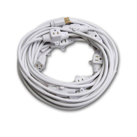 Milspec D19006737 Multi-Outlet 14/3 AC Distribution Extension Cord White 32.5 Foot