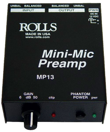 Rolls MP13 Mini-Mic Preamp XLR-1/4 Phantom
