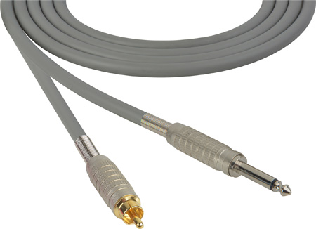 Mogami Audio Cable 1/4-Inch TS Mono Male to RCA Male 75 Foot - Gray