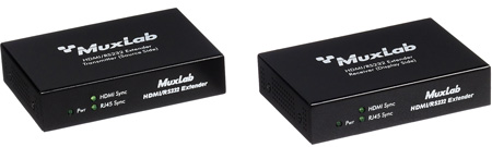 MuxLab 500454 HDBASE-T HDMI Over w/POE & RS232 CAT5e/6/7 Extender Kit
