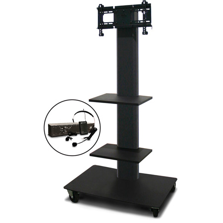 Marvel MVPFS3255DT-2E Monitor Stand with Two Shelves & Earpiece Microphone