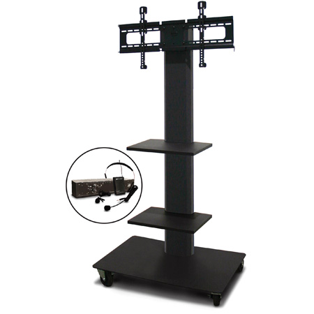 Marvel MVPFS6055DT-2E Monitor Stand with Two Shelves & Earpiece Microphone