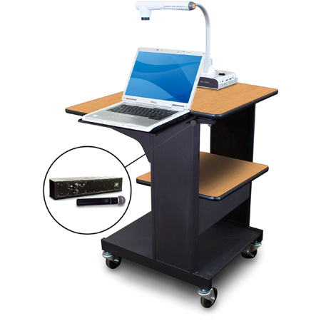 Marvel MVPSE2432OKDT-LH Benchmark Cart with Laptop Shelf & Hand Mic - Oak