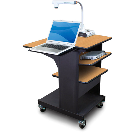 Marvel MVPSE2432OKDT-LT Benchmark Cart with Laptop Shelf & Tilting Shelf- Oak