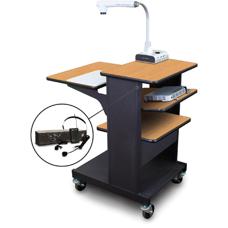 Marvel MVPSE2432OKDT-TE Benchmark Cart with Tilting Shelf & Ear Mic - Oak