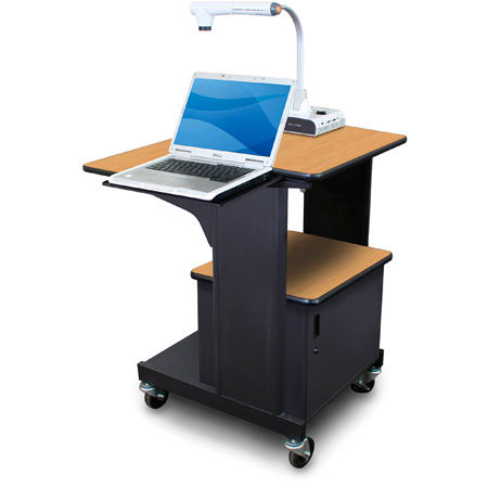 Marvel MVPSM2432OKDT-L Benchmark Cart with Metal Door and Laptop Shelf - Oak