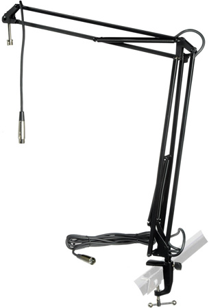 MXL BCD Stand Articulating Mic Boom Arm Radio DJ/Talk Show/Podcast Desktop Stand with attached 12 foot Mic Cable Black