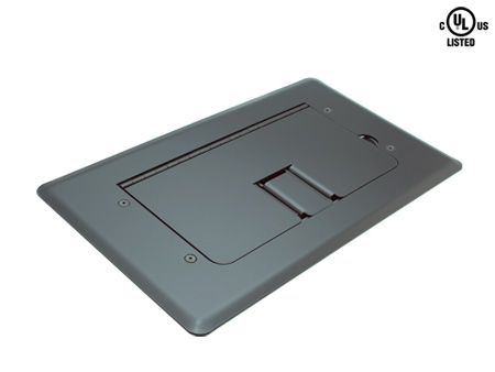 Mystery FMCA2400 Floor Box Satin Black Self-trimming Cable Door
