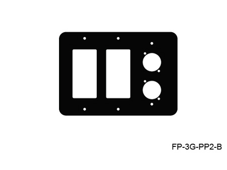 Mystery FP-3G-PP2-B 3-Gang Black Wall Panel  2 Each Decora 1 Each Neutrik D