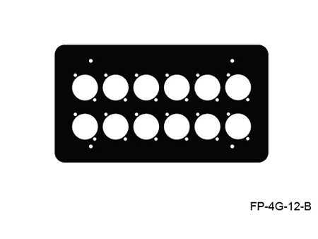 Mystery FP-4G-12-B 4-Gang Black Wall Panel 12 Each Neutrik D